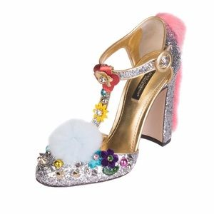D&G Mary Jane Pumps Shoes VALLY Flower Fur Silver